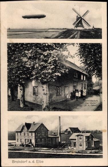 Ak Brokdorf an der Elbe, Zeppelin, Windmühle, Gastwirtschaft zur Linde 0