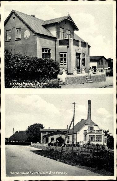 Ak Klein Brodersby Schleswig Holstein, Geschäftshaus Bräder, Dorfansicht 0