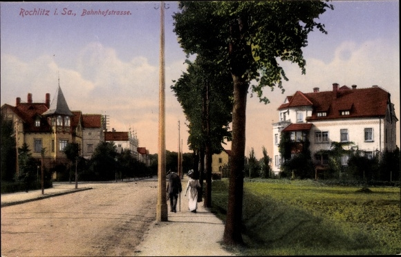 Ak Rochlitz an der Mulde, Bahnhofstraße, Wohnhäuser 0