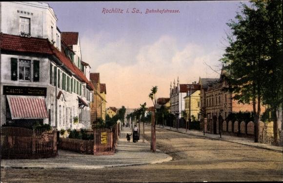 Ak Rochlitz an der Mulde, Bahnhofstraße, Geschäft Zigarren und Konfitüren