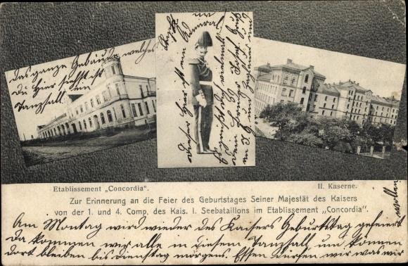 Ak Kiel, 1. & 4. Comp. Kais. I. Seebataillon, Etablissement Concordia, II. Kaserne, Kaisergeburtstag 0