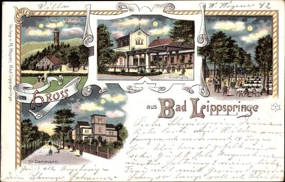 Litho Bad Lippspringe, Forsthaus Heimath, Trinkhalle, Waldschlösschen, Dr. Dammann, Nacht 0