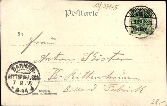 Litho Bad Lippspringe, Forsthaus Heimath, Trinkhalle, Waldschlösschen, Dr. Dammann, Nacht 1