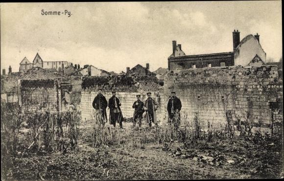 Ak Sainte Marie à Py Marne, Kriegszerstörungen, I. WK, Dt. Soldaten 0