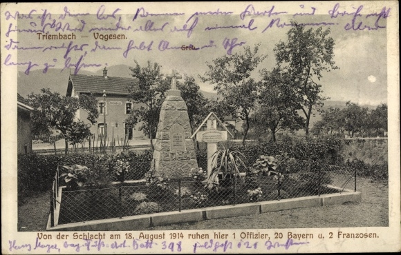 Ak Triembach au Val Elsass Bas Rhin, Soldatengrab nach d. Schlacht am 18. Aug. 1914 0