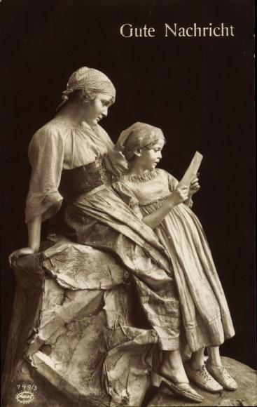 Ak Gute Nachricht, Mutter mit Tochter lesen Brief vom Soldatenvater, Lebende Plastik