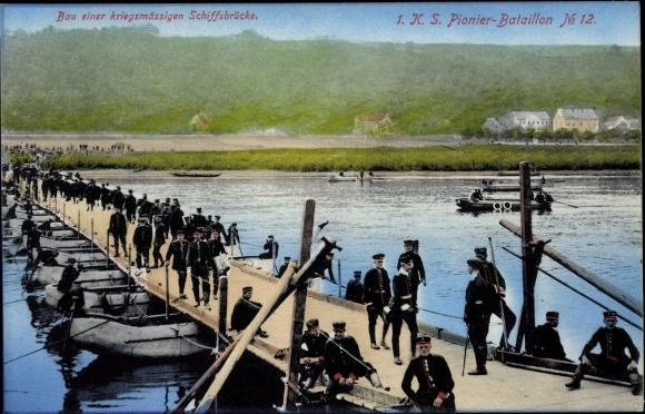 Ak 1. K. S. Pionier Bataillon No. 12, Bau einer kriegsmässigen Schiffbrücke