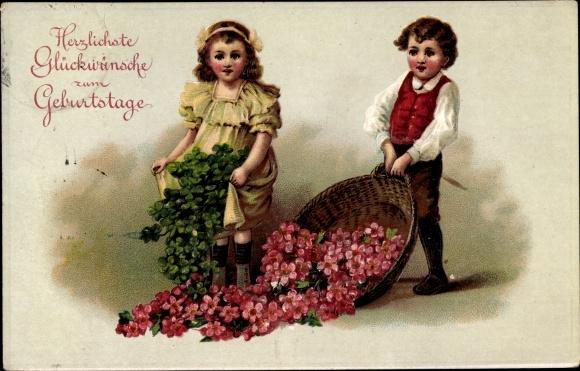 Präge Ak Glückwunsch Geburtstag, Kleeblätter, Blumen, Kinder, EAS 0