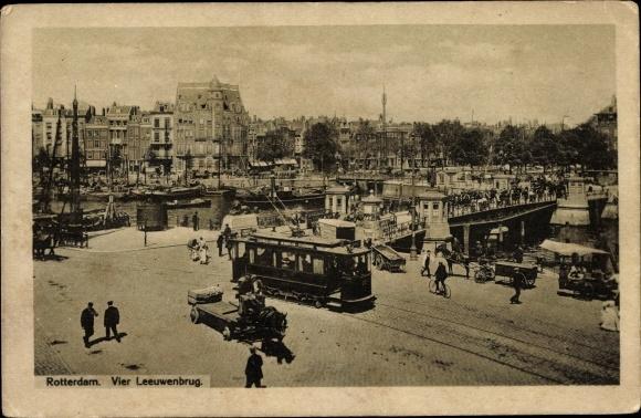 Ak Rotterdam Südholland Niederlande, Vier Leeuwenbrug, Straßenbahn Linie 2 0