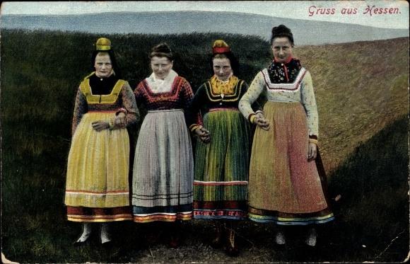 Ak Frauen in Hessischer Tracht, Portrait 0