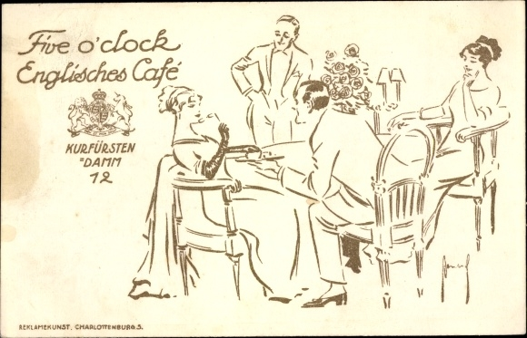 Gold Ak Five o'clock Englisches Café, Berlin Kurfürstendamm 12, Tischszene 0