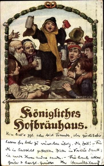 Künstler Ak Zumbusch, Königliches Hofbräuhaus, Kindl, Maßkrüge, Weißwürste 0
