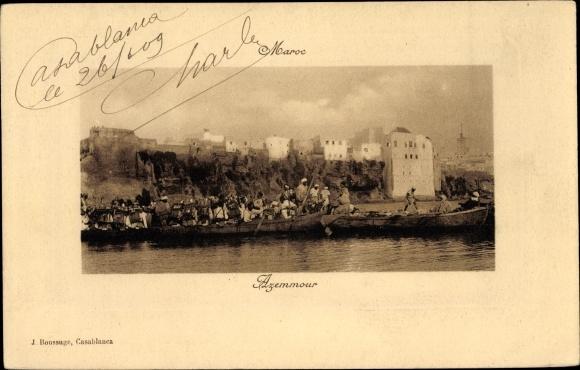 Passepartout Ak Azemmour Marokko, Boote, Teilansicht der Stadt 0