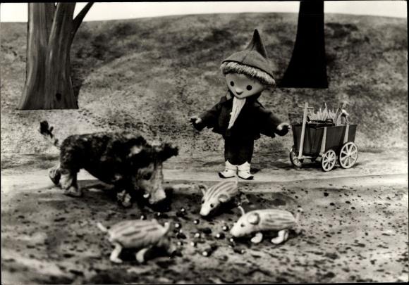 Ak Unser Sandmännchen, Sandmann, DDR Kinderfernsehen, Wildschweine, 09152