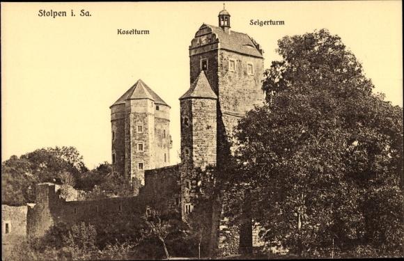 Ak Stolpen in Sachsen, Koselturm, Seigerturm 0