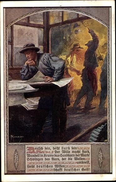 Künstler Ak Kuderna, Franz, Deutsch sein heißt stark sein, Industriearbeiter, Dt. Schulverein Nr 807