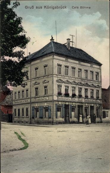 Ak Königsbrück in der Oberlausitz, Café Böhme, Konditorei 0