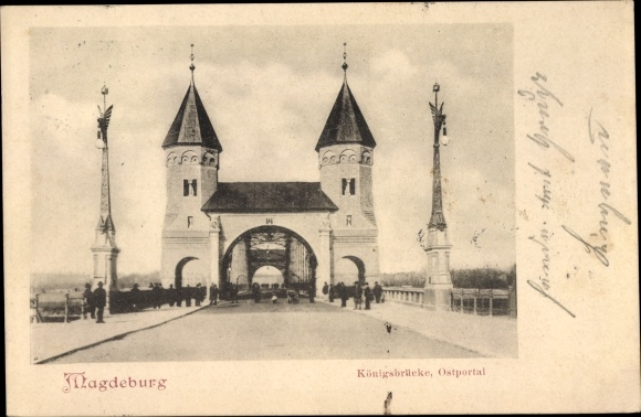 Ak Magdeburg an der Elbe, Königsbrücke, Ostportal 0