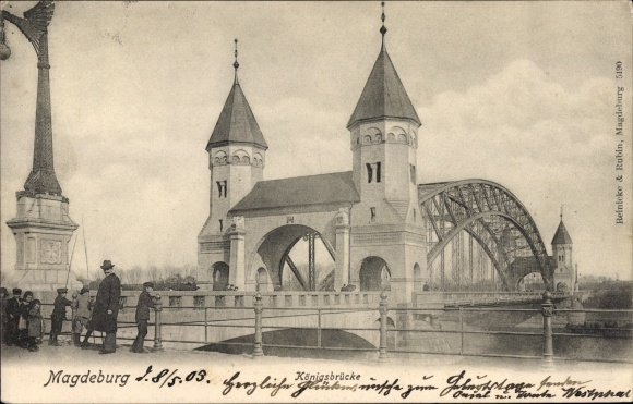 Ak Magdeburg an der Elbe, Königsbrücke, Fußgänger, Kinder