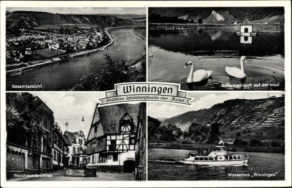 Ak Winningen in Rheinland Pfalz, Wasserbus Winningen, Weinhexenbrunnen, Ortsansicht