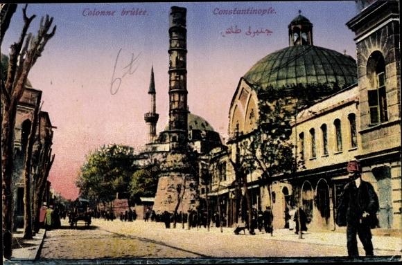 Ak Konstantinopel Istanbul Türkei, Colonne brûlée 0