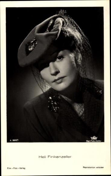 Ak Schauspielerin Heli Finkenzeller, Portrait in Hut