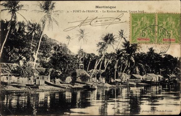 Ak Fort de France Martinique, La Riviére Madame, l'autre bord