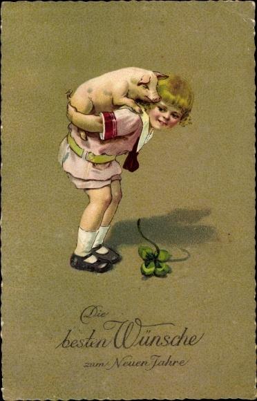 Ak Glückwunsch Neujahr, Schwein, Kleeblatt, EAS 373 0
