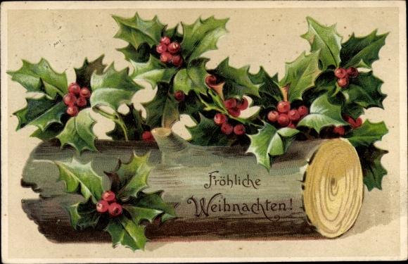 Präge Ak Frohe Weihnachten, Stachelpalme, Baumstamm