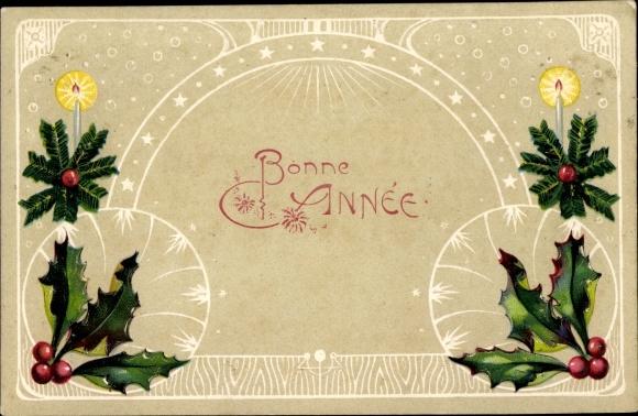 Präge Passepartout Ak Glückwunsch Neujahr, Stachelpalmenzweige, Kerzen 0