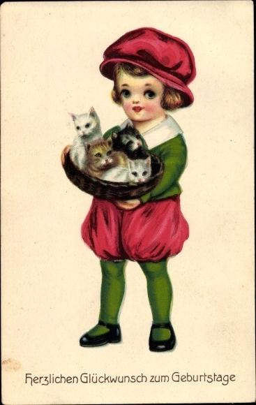 Ak Glückwunsch Geburtstag, Kind m. Katzenkorb, edle Kleidung 0