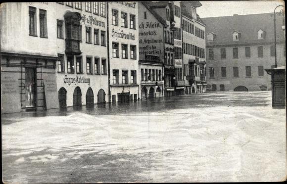 Ak Nürnberg in Mittelfranken Bayern, Obstmarkt b. d. Hochwasser Katastrophe 5. Februar 1909, Läden