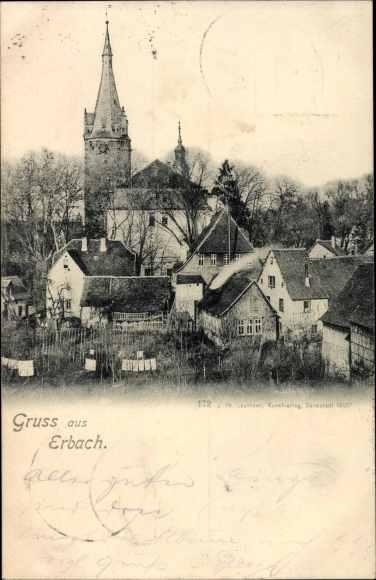 Ak Erbach im Odenwald Hessen, Panorama vom Ort 0