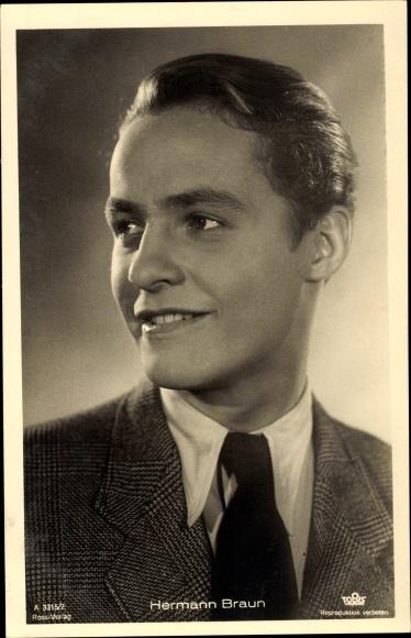 Ak Schauspieler Hermann Braun, Portrait 0
