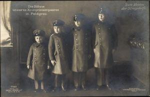 Ak Erbprinz Wilhelm, Louis Ferdinand, Hubertus, Friedrich, Söhne des Kronprinzenpaares, Liersch 7166