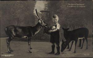 Ak Der kleine Tierfreund, Erbprinz Wilhelm von Preußen, Rehe, Liersch 1952