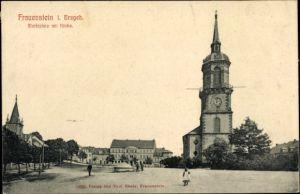 Ak Frauenstein im Erzgebirge, Marktplatz mit Kirche