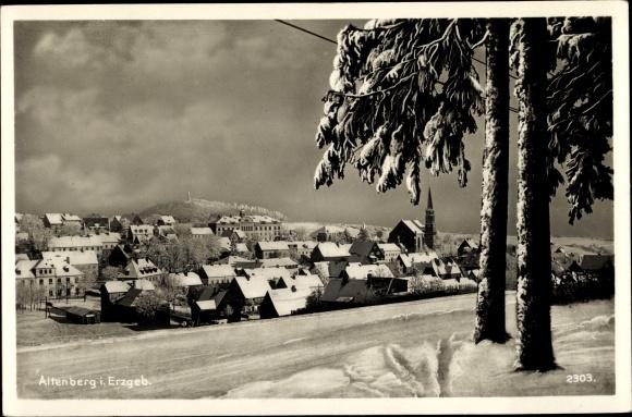 Ak Altenberg im Osterzgebirge, Gesamtansicht im Winter