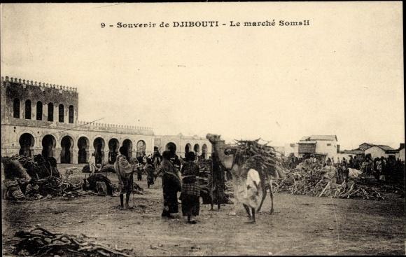 Ak Djibouti Dschibuti, Le marché Somali, Holzmarkt, Kamel