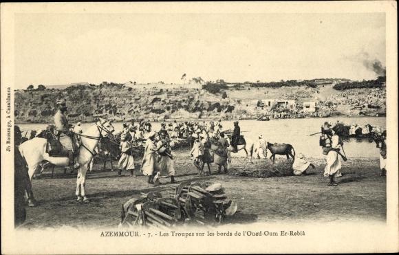 Ak Azemmour Marokko, Les Troupes sur les bords de l'Oued Oum Er Rebiâ