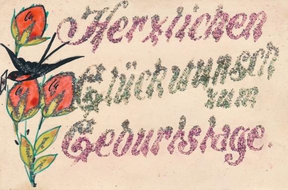 Handgemalt Glitzer Ak Glückwunsch Geburtstag, Blumen, Schwalbe
