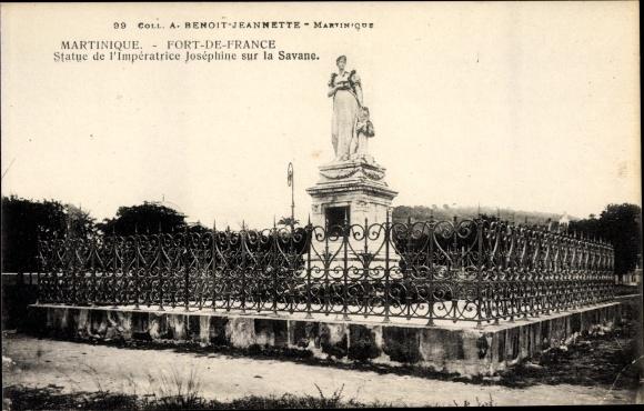 Ak Fort de France Martinique, Statue de l'Impératrice Joséphine sur la Savane
