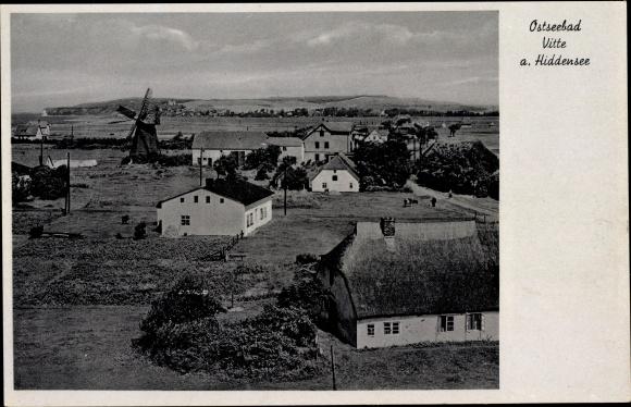 Ak Vitte Hiddensee Ostsee, Wohnhäuser, Windmühle