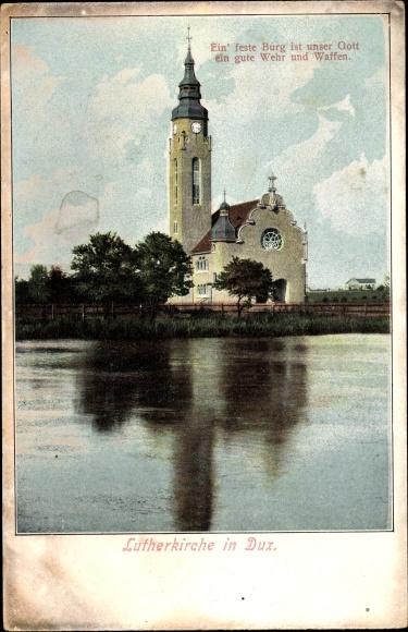 Ak Duchcov Dux Region Aussig, Lutherkirche