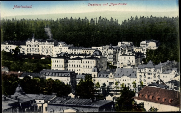 Ak Mariánské Lázně Marienbad Reg. Karlsbad, Stadthaus, Jägerstraße