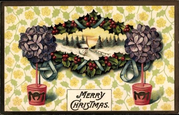 Präge Passepartout Ak Frohe Weihnachten, Schneelandschaft, Stachelpalmen, Blumentöpfe