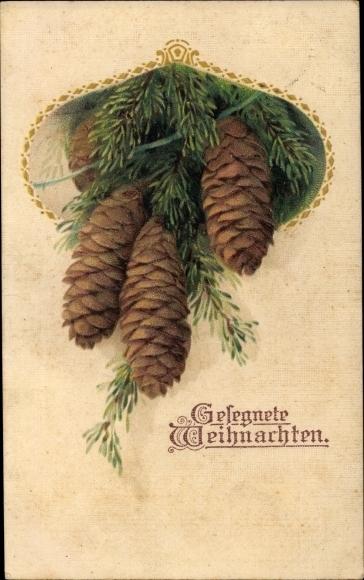 Präge Passepartout Ak Frohe Weihnachten, Tannenzapfen