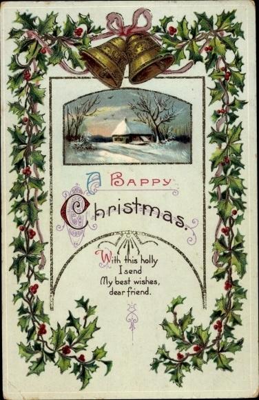 Präge Passepartout Ak Frohe Weihnachten, Glocken, Stachelpalme, Schneelandschaft
