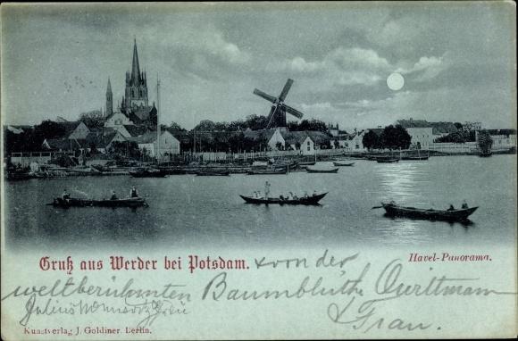 Mondschein Ak Werder an der Havel, Stadtpanorama, Windmühle