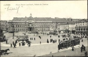 Ak Liège Lüttich Wallonien, Place Saint Lambert, Palais de Justice